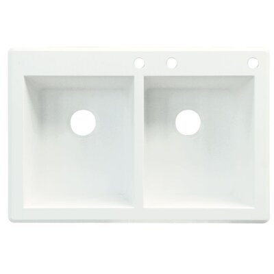 Radius 33 x 22 Double Basin Drop-in Kitchen Sink Finish: White