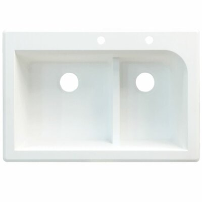 Radius 33 x 22 Double Basin Drop-in Kitchen Sink Finish: Cafe Latte, Faucet Drillings: 4 hole