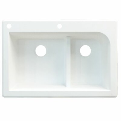 Radius 33 x 22 Double Basin Drop-in Kitchen Sink Finish: White, Faucet Drillings: 6 hole