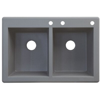 Radius 33 x 22 Double Basin Drop-in Kitchen Sink Finish: Gray