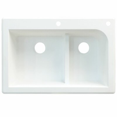 Radius 33 x 22 Double Basin Drop-in Kitchen Sink Finish: Cafe Latte, Faucet Drillings: 2 hole