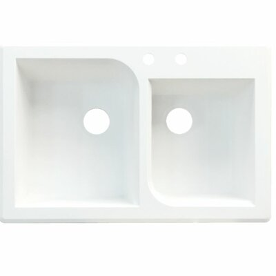 Radius 33 x 22 Double Basin Drop-in Kitchen Sink Finish: White, Faucet Drillings: 2 hole