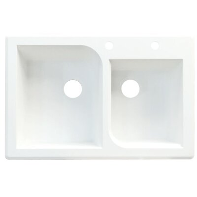 Radius 33 x 22 Double Basin Drop-in Kitchen Sink Finish: White, Faucet Drillings: 3 hole