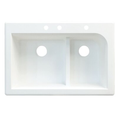Radius 33 x 22 Double Basin Drop-in Kitchen Sink Finish: White, Faucet Drillings: 4 hole
