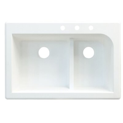 Radius 33 x 22 Double Basin Drop-in Kitchen Sink Finish: Gray, Faucet Drillings: 3 hole