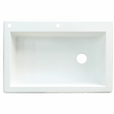 Radius 33 x 22 Single Basin Drop-in Kitchen Sink Finish: White, Faucet Drillings: 4 hole