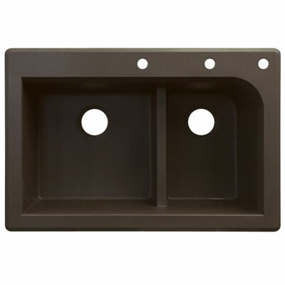 Radius 33 x 22 Double Basin Drop-in Kitchen Sink Finish: Espresso