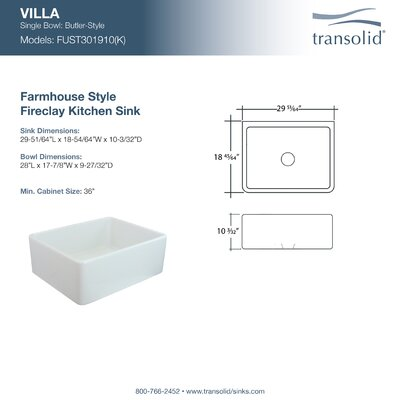Villa 30 x 18.75 Farmhouse Kitchen Sink
