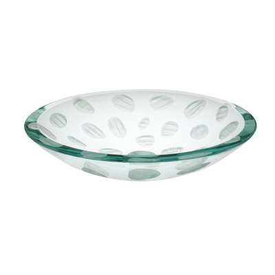 Frost Imprint Glass Circular Vessel Bathroom Sink