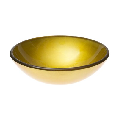 Bright Gold Glass Circular Vessel Bathroom Sink
