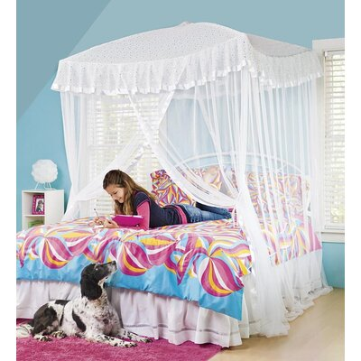 Sparkling Lights Bed Canopy Color: White