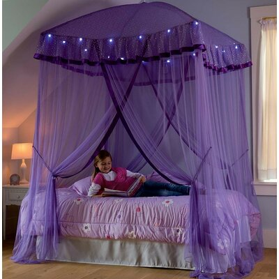 Sparkling Lights Bed Canopy Color: Purple