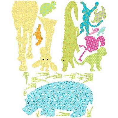Colorful Patterned Jungle Animal Decorative Silhouette Wall Decal 726990