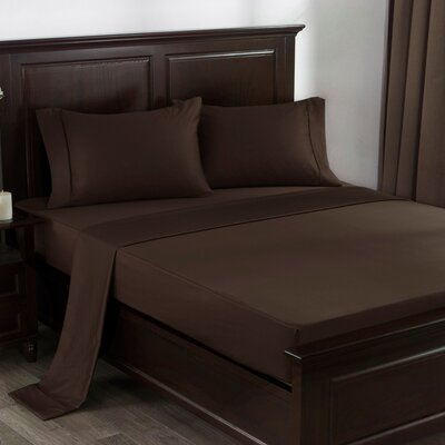 4 Piece 300 Thread Count 100% Cotton Sheet Set Size: Queen, Color: Dark Coffee