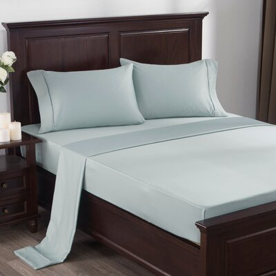 4 Piece 300 Thread Count 100% Cotton Sheet Set Size: Queen, Color: Light Blue
