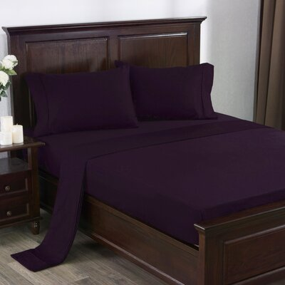 4 Piece 300 Thread Count 100% Cotton Sheet Set Size: King, Color: Violet