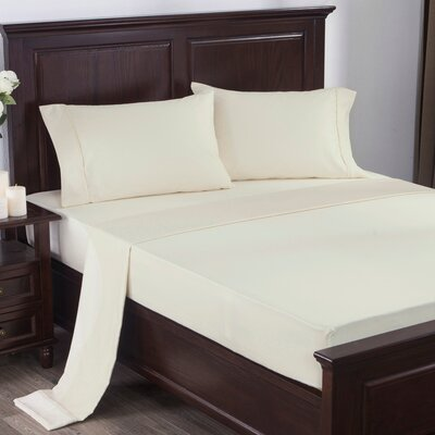 4 Piece 300 Thread Count 100% Cotton Sheet Set Size: Queen, Color: Ivory