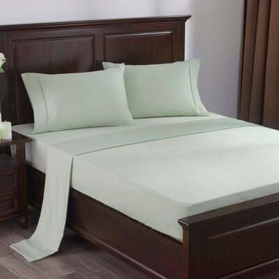 4 Piece 300 Thread Count 100% Cotton Sheet Set Size: King, Color: Grayish Green