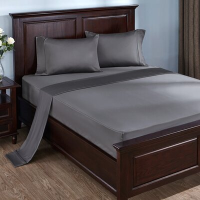 4 Piece 300 Thread Count 100% Cotton Sheet Set Size: King, Color: Smokey Gray
