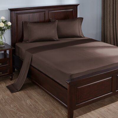 4 Piece 300 Thread Count 100% Cotton Sheet Set Size: Queen, Color: Chocolate