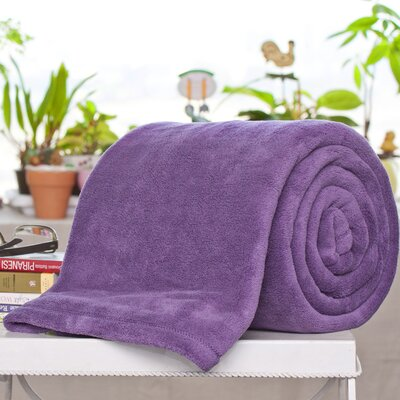 Alvarado Micro Plush Blanket Color: Plum, Size: Queen