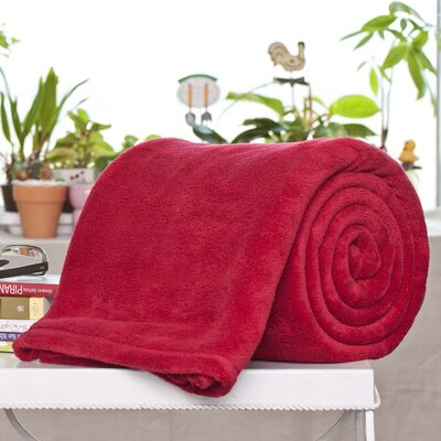 Bliss Micro Plush Blanket Color: Ruby, Size: Queen