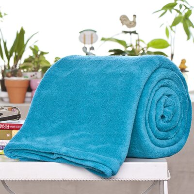 Alvarado Micro Plush Blanket Color: Aqua, Size: Twin