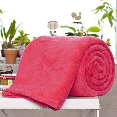 Alvarado Micro Plush Blanket Color: Coral, Size: Twin