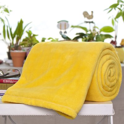 Bliss Micro Plush Blanket Color: Canary, Size: Queen