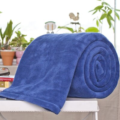 Alvarado Micro Plush Blanket Color: Navy, Size: Queen