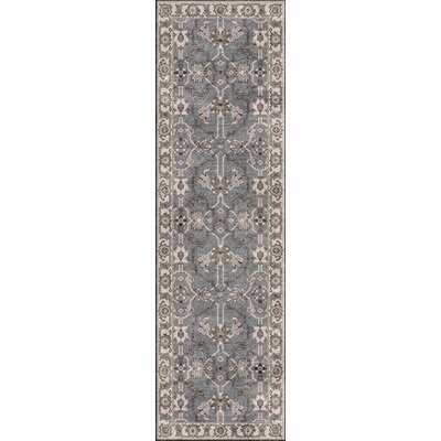 Hesston Hand Knotted Gray Area Rug Rug Size: Runner 26 x 8