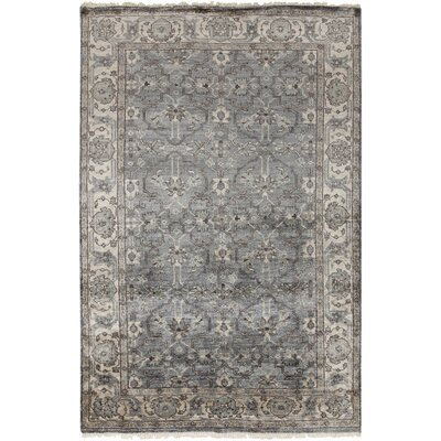 Hesston Hand Knotted Gray Area Rug Rug Size: Rectangle 6 x 9