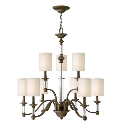 Harrison 9-Light Shaded Chandelier Finish: English Bronze