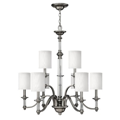 Harrison 9-Light Shaded Chandelier Finish: Brushed Nickel