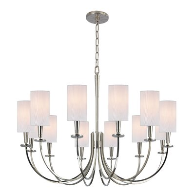 Regents 12-Light Shaded Chandelier Finish: Polished Nickel