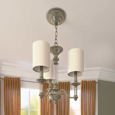 Harrison 3-Light Shaded Chandelier Finish: Brushed Nickel