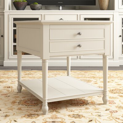 Payton End Table With Storage Color: White