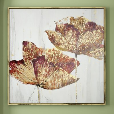 Golden Accents Floral Framed Painting Print