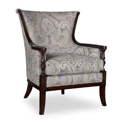 Marylhurst Linen Carved Wood Arm Chair