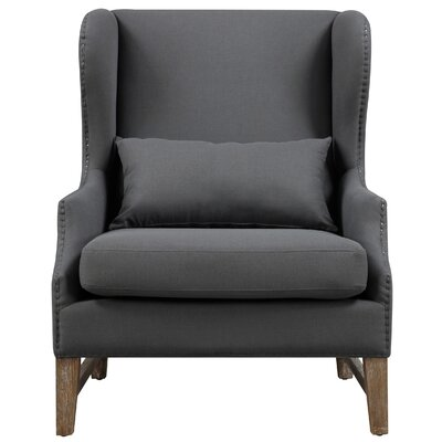 Governor Wing Arm Chair Upholstery: Grey