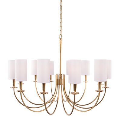 Regents 12-Light Shaded Chandelier Finish: Aged Brass