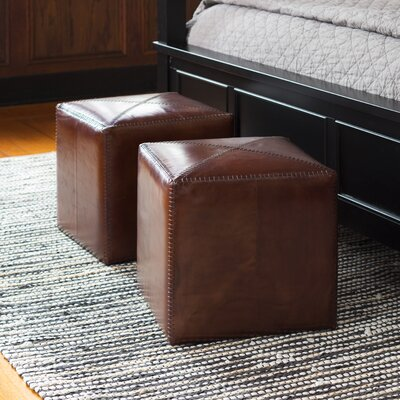 Gustavus Leather Ottoman Upholstery: Tobacco