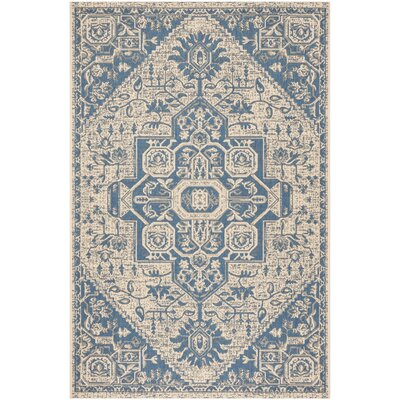 Dunnyvadden Blue/Cream Area Rug Rug Size: Rectangle 51 x 76