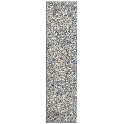 Dunnyvadden Cream/Blue Area Rug Rug Size: Runner 2 x 8