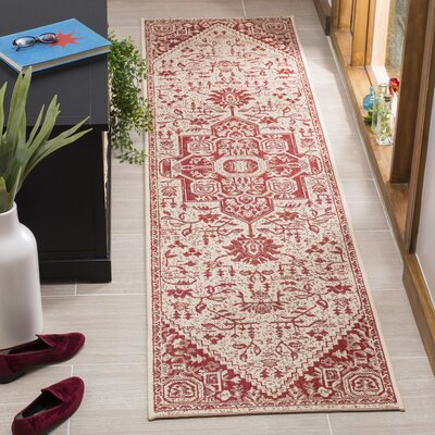 Hoover Cream/Red Area Rug Rug Size: Runner 2' x 8'