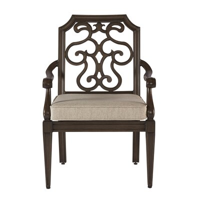 Hargrave Outdoor Upholstered Dining Chair (Set of 2) Frame Color: Tan