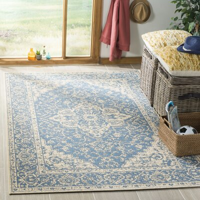 Hoover Blue/Beige Area Rug Rug Size: Rectangle 51 x 76