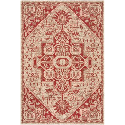 Hoover Cream/Red Area Rug Rug Size: Rectangle 4' x 6'