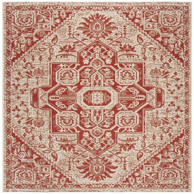 Hoover Cream/Red Area Rug Rug Size: Square 67