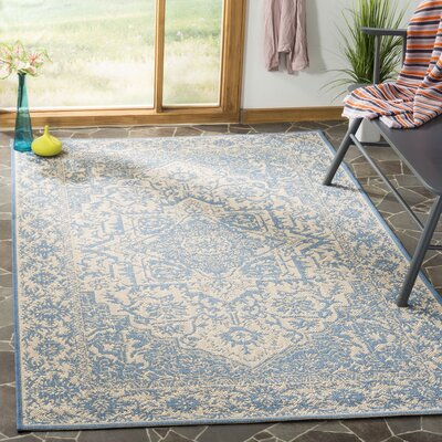 Dunnyvadden Cream/Blue Area Rug Rug Size: Rectangle 51 x 76
